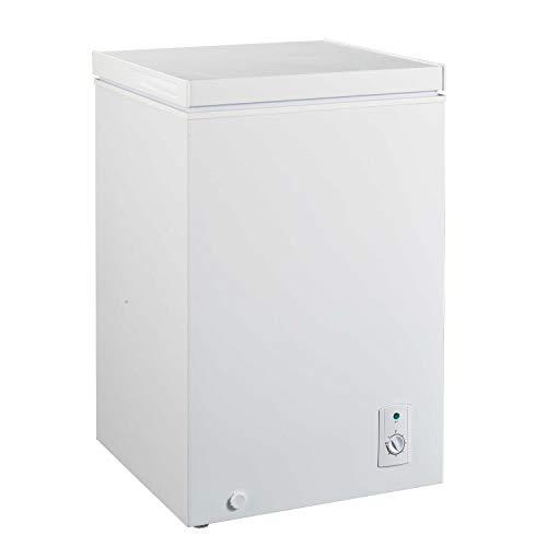 FrigeluX - Congélateur Coffre CCO100BF - 100L - 22h d'Autonomie - Thermostat Mécanique - Format Compact - Pose Libre - 2 Pieds Réglables - 42 db - Blanc