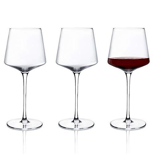 Krrinnhy Juego De 3 Copas Para Vino Tinto - 600ML Vasos De Cristal En Titanio Sin Plomo - Copa De Vino Tinto Hecho A Mano Soplado Estilo Sin Plomo Premium Clear Glass Gift Para Bodas