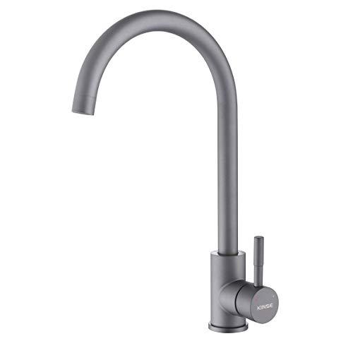 KINSE Einhebel Küchenarmatur Edelstahl | 360° Schwenkbar Spültischarmatur | Hochdruck Wasserhahn Küche | Grau