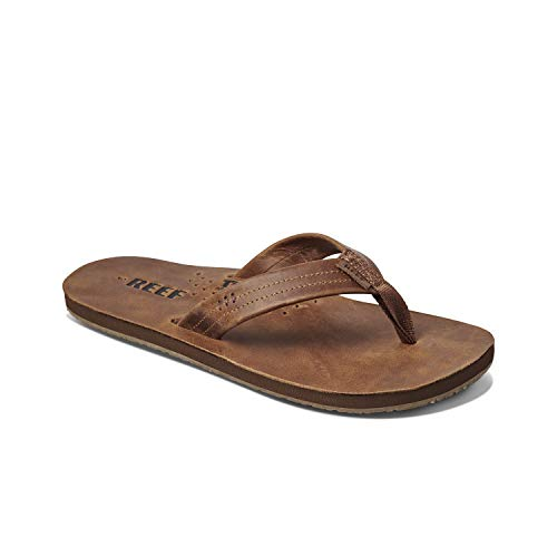 Reef Men's Leather Sandals Draftsmen | Bottle Opener Flip Flops for Men with Soft Cushion Footbed | Bronze Brown | Size 12