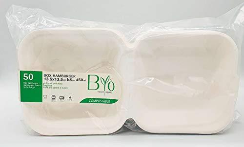 50 cajas de hamburguesas de 450 ml, 8 x 15 x 15 cm, pulpa de celulosa orgánica, 100% compostable húmeda, robusta take way 21 g.