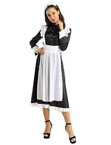 MSemis Disfraz Criada Francesa para Mujer Vestido Largo Mucama Sirvienta Cosplay Lolitas Uniformes Limpieza Traje Satén Delux Disfraces Negra 3Pcs