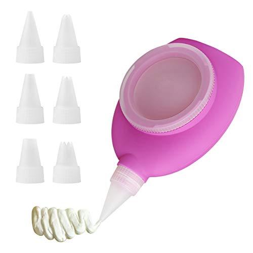 Bäcker & Lecker Dekorierer Decomax Silikon Spritzbeutel mit 6 Spritztüllen für Macaron Plätzchen Dekoration Tortendeko (MEHRWEG)