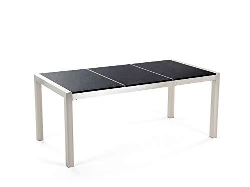 Beliani Stilvoller Gartentisch 3 Tischplatten Steingemisch/Edelstahl 180 cm Grosseto