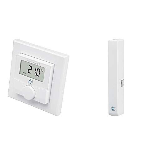 Homematic IP Smart Home Wandthermostat mit Luftfeuchtigkeitssensor – intelligente Heizungssteuerung per App & Smart Home Fenster- und Türkontakt, optisch – Smarte Überwachung der Fenster, 140733A0