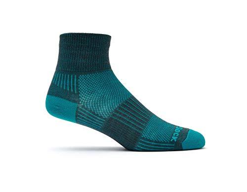Wrightsock Unisex Coolmesh II Quarter Ash/Turquoise Sock