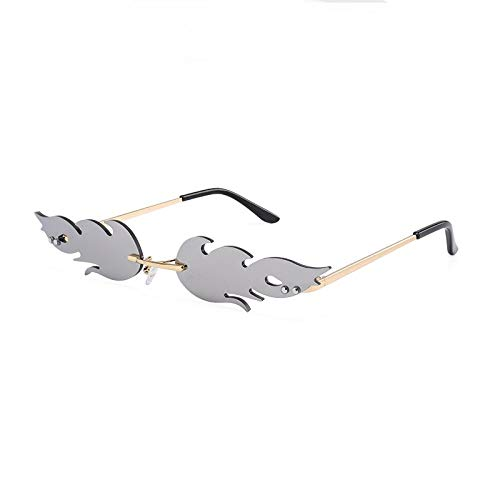 Sonnenbrille Damen,Mode Feuer Flamme Sonnenbrille Frauen Männer Randlose Sonnenbrille Rechteck Vintage Superheld Sonnenbrille Klar