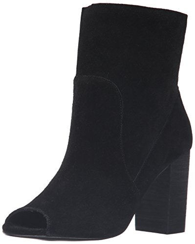 Chinese Laundry Women's Tom Girl Peep Toe Boot, Black Suede, 8 M US