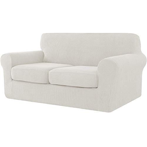 E EBETA Cubiertas de sofá, Funda de sofá 2 Plaza + 2 Fundas de cojín, Tejido Jacquard de poliéster y Elastano, Tunez Funda sofá (Blanco Crema, 2 Plazas)