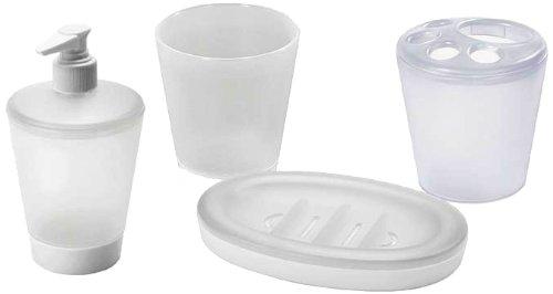 Juypal 989 - Set de Vasos con jabonera para encimera, 4 Piezas,...
