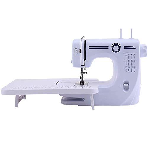 HTTIB Máquina de Coser portátil Multifuncional máquina de Coser de Puntada de 12 Overlocking y Gruesa pequeña máquina de Coser eléctrica (Color : White)