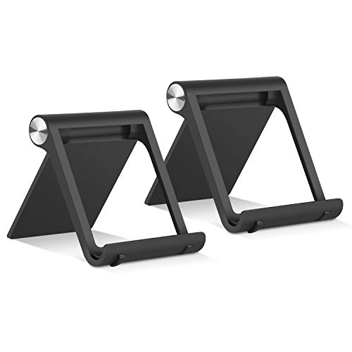 Vetoo Cell Phone Stand, 2 Pack Desktop Phone Stand Tablet Phone Holder Multi-angle Pocket Stand Cradle Compatible Phone XR XS Max X/8/7 Plus/7/6s/6/5/4 SE, Tablets(6-11') 2 Black