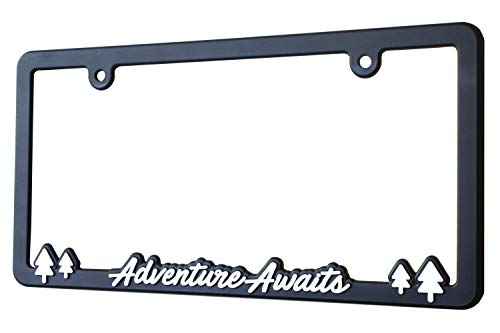 Spiffy License Plate Frame Adventure Awaits for US/CAN Vehicles with Vibrant Raised Lettering | Heavy Duty Polyurethane | Strong Securing Clips | Original Design | Made in The USA