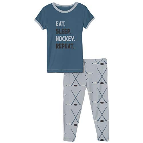 KicKee Pants - Graphic Pajama Set with Short Sleeves, Ultra Soft and Snug Fitting PJ's - Matching Top and Bottom Sleepwear Set, Newborn to Baby Pajamas (Pearl Blue Hockey - 4T)