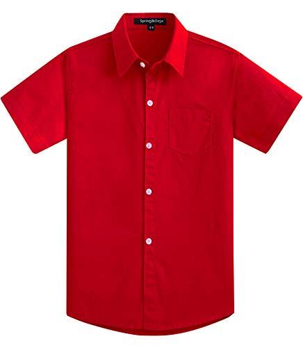 Spring&Gege Jungen Kurzarm Einfarbig Formale Baumwoll Hemden Klassisch Schuluniform Shirts für Kinder Rot 152 158
