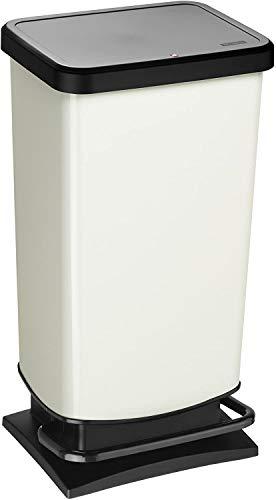 Rotho Paso, Cubo de basura de 40l con pedal y tapa, Plástico PP sin BPA, blanco metálico, 40l 35.3 x 29.5 x 67.6 cm