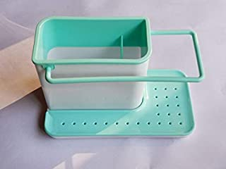 Dish Brush Holder for Sink Sponge Kitchen Draining Box Rack Dish Shelf Brush Draining Sink Storage Rack Kitchen Organizer Stands Utensils Towel Rack Holder Blue