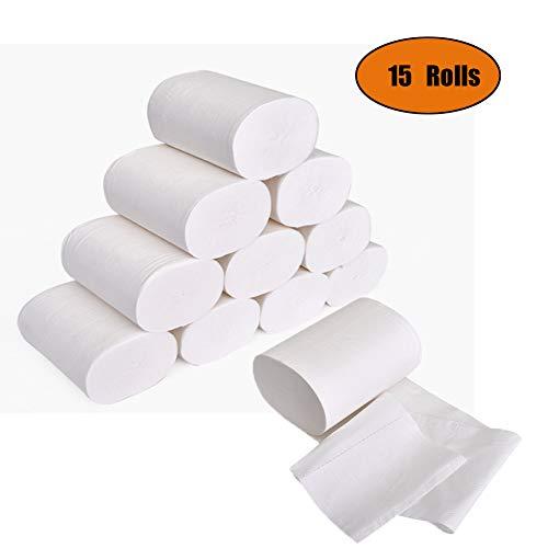 Ultra Gentle Care toiletpapier, 4-laags standaard rollen toiletpapier, zacht, huidvriendelijk, geen geur, tissuepapier voor commercieel huishouden (15 rollen)