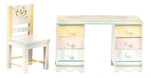 Melody Jane Miniatura para Casa de Muñecas 1:12 Muebles de Dormitorio Pastel Shabby Chic Escritorio y Silla