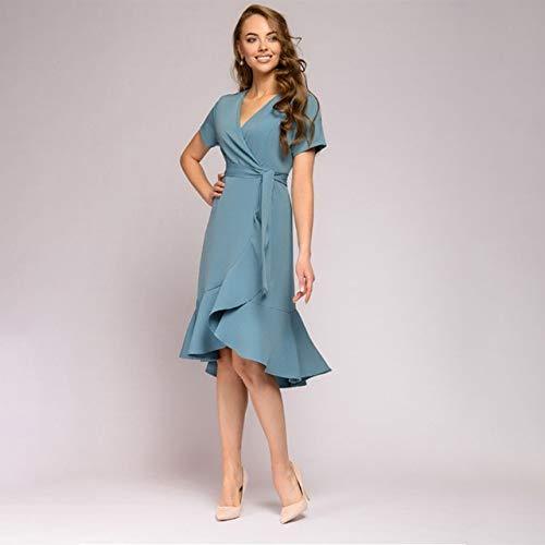 Generies Rüschen A Linie Partykleid Damen Kurzarm V-Ausschnitt Elegantes Modekleid Weiblich Blau Krawatte Solides Sommerkleid S Himmelblau
