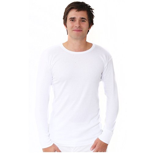 Elegance1234 Amélioration de la qualité supérieure des Hommes 100% Pur Coton brossé Tops Hiver Thermique Manches Longues (Ref: 1520) (Grand(Large))