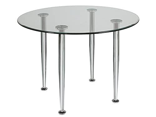 HABITMOBEL Mesa de Comedor Redonda Cristal Largo: 105 cm Ancho: 105 cm Alto: 75 cm