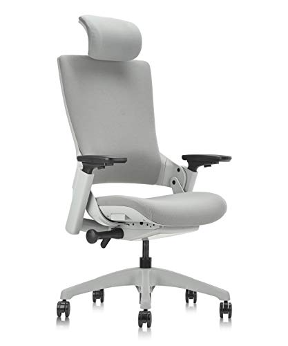 CLATINA Ergonomic High Swivel Executive Chair with Adjustable Height Head 3D Arm Rest Lumbar Support and Upholstered Back for Home Office Gray
