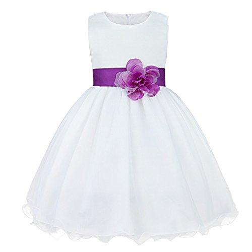 IEFIEL Vestido Elegante de Fiesta para Niña Vestido Cóctel Flores de Dama de Honor Vestido Princesa Dulce Sin Mangas de Boda Ceremonia