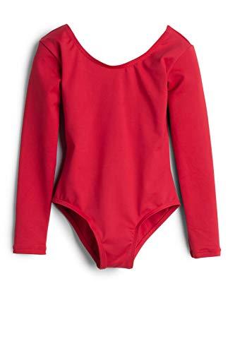 elowel   Mädchen   Sport-Ballet-Tanztrikot   Gymnastikanzug, Leotard   Langaermelig - Beinausschnitt G (Gym)   Elegant & Bequem   Größe: 4-6 Jahre   Farbe: Rot