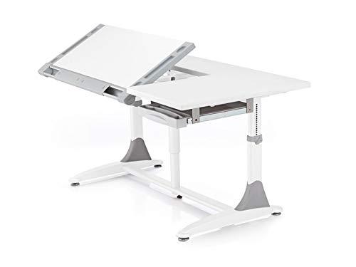 Ergodesk COMF-PRO King Desk Kinderschreibtisch höhenverstellbar Schülerschreibtisch Kindermöbel Schreibtisch Kinder grau weiß