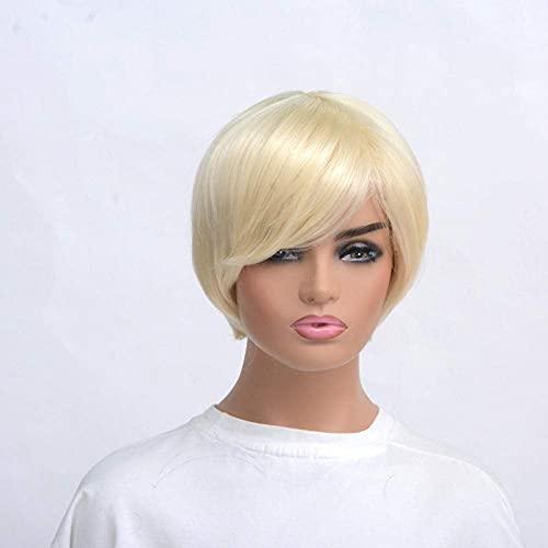 Pelucas rectas para cosplay, fiestas, hombres, niños, rubio, negro, 30 cm, resistente al calor, 2 pelucas largas y rectas (color: 1)