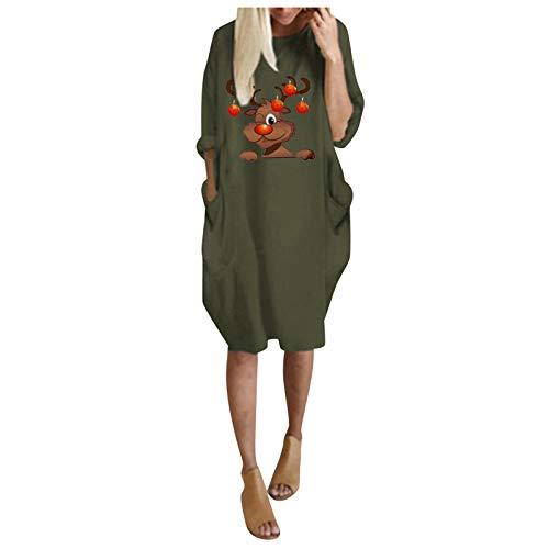 T-Shirt Kleid Damen Langarm O-Ausschnitt Mini Kleider Lose Swing Blusen Tunika Kleid Wintermode Plus Size Loose O-Neck Tasche Weihnachten gedruckt (3XL,2Armeegrün)