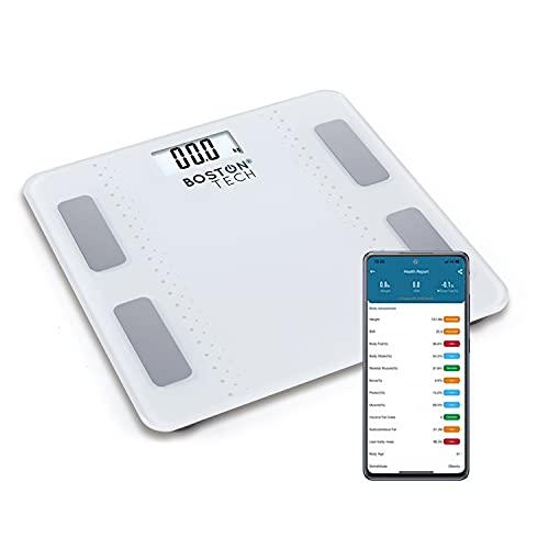 Báscula de Baño Digital Inteligente Alta precisión, Diagnóstico Peso Corporal Masa Muscular y Ose, Grasa Corporal y Agua corporal, metabolismo y BMP Max.180kg para Andriod y iOS Blanca Modelo ME109