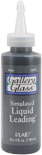 Gallery Glass 16076, 4 Ounce, Classic Black Liquid Leading for Lines