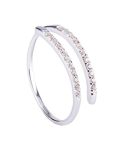 TOSH Offener Ring aus 925er Silber mit funkelnden Zirkoniasteinen besetzt, Größe S / 54/17,2 (453-390)