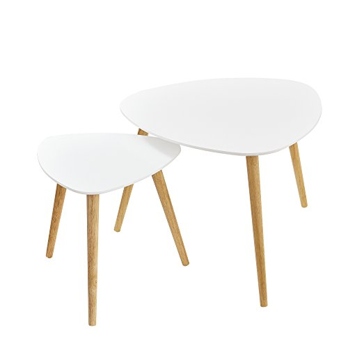 [en.casa] Couchtisch im 2er-Set Wohnzimmertisch Beistelltisch Tisch Tischbeine in Buche-Optik Weiß Buche