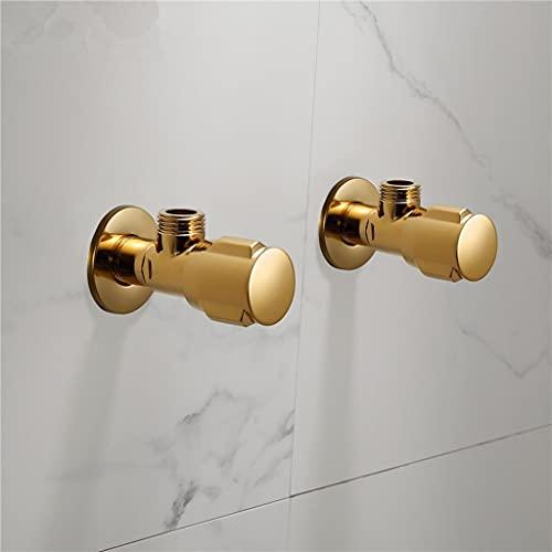 GFDFD Válvula de ángulo de latón Válvula de Control de Agua Válvula de Esquina de Oro Válvula de Agua de baño de Cromo 1/2 * 1/2 Lámparas de ángulo Negro de latón (Size : Gold Two pcs)
