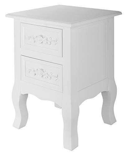 Bingo-Shop | Eleganter Retro Vintage Nachttisch Beistelltisch erhältlich in 3 Designs [K3-Line]! (Versailles | Weiss)