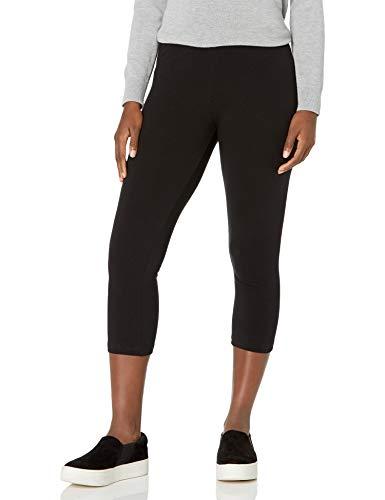 No nonsense Women's Cotton Capri Leggings, Black, Small