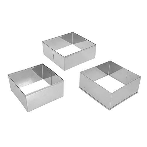 BESTONZON Quadrat Kekse Cutter 3pcs Edelstahl Knödel Wrapper Formen Keks Druckform Backen Werkzeug für DIY Dessert Küche