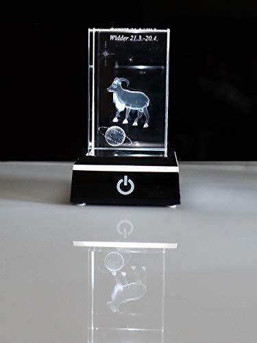 C-Kom 3D Sternzeichen Widder personalisiert Glaskristall Glasgravur Kristallglas Geschenke