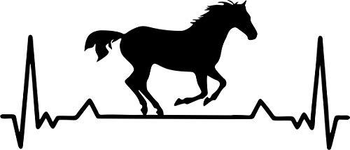 BlingelingShirts Auto Aufkleber Heartbeat Pferd 25 cm Herzschlaglinie EKG Horses Pferde Wandaufkleber Autoaufkleber Wandtattoo Decal schwarz