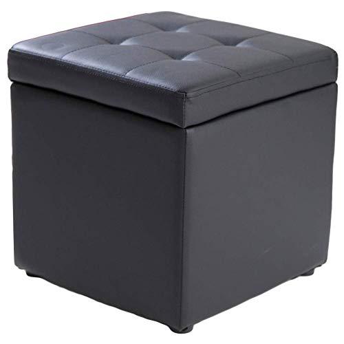 FSYGZJ Cube - Taburete otomano de Piel sintética para Almacenamiento, Asiento de Banco, Caja de Juguetes con bisagra, Caja organizadora Superior, Negro 40x40x40cm (16x16x16)