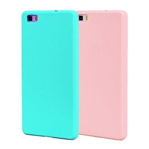 Funda HuaWei P8 Lite, 2Unidades Carcasa HuaWei P8 Lite Silicona Gel, OUJD Mate Case Ultra Delgado TPU Goma Flexible Cover para Samsung P8 Lite - Cielo azul + rosa