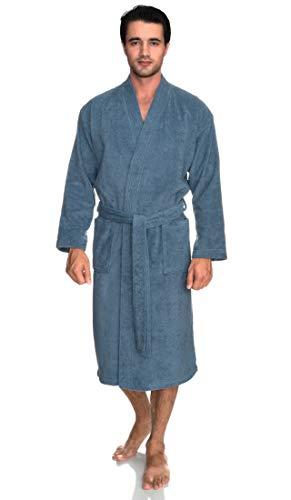 towelselections hombre albornoz, algodón turco, tejido de rizo Kimono Albornoz, hecho en Turquía -  Azul -