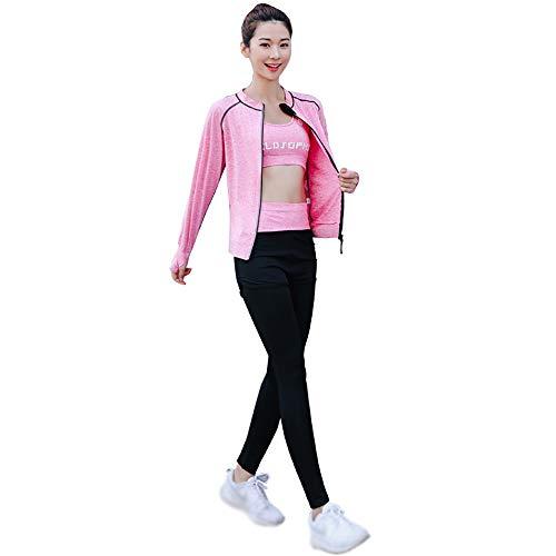 SCHUANG Damen 5Pcs Yoga Anzug T-Shirt BH Mantel Hose Shorts Set Jogging Fitness Gym Damen Soprt Wear Trainingsanzüge Sweat Activewear Pink M-2XL,Pink-XL