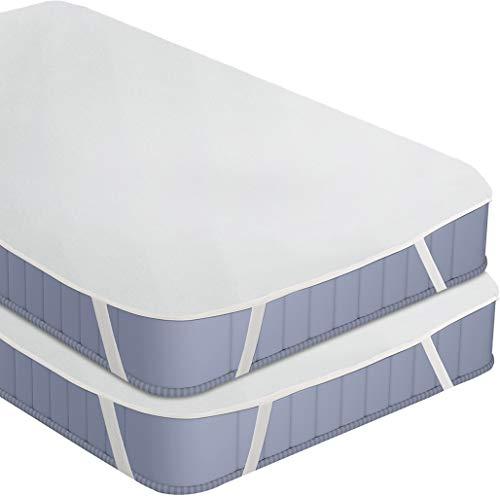 Utopia Bedding Terry Materasso Protector Impermeabile - Coprimaterasso Superiore in Cotone Traspirante con Cinghie Elastiche ad Angolo (Confezione da 2 | 90 x 200 cm)
