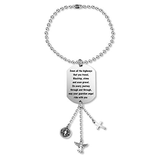 TYS Guardian Angel Rearview Mirror Guardian Angel Car Charm Drive Safe Car Charm Rearview Mirror Hanging Decorations(Highway)