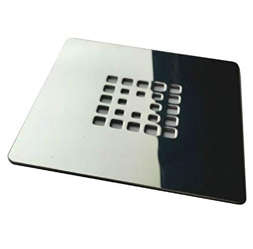 Rejilla cuadrada de 14 X 14 cm en acero inoxidable para platos de ducha de resina,pizarra,mármol,piedra