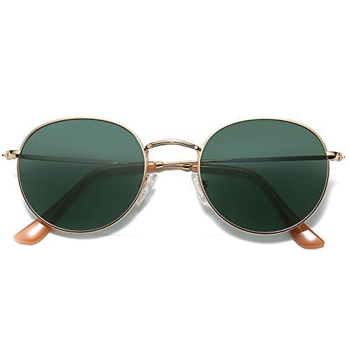 LKEYE Small Unisex Classic Vintage Round Mirror Lens Polarized Sunglasses LK1702 3447 Gold Frame/Dark green Lens